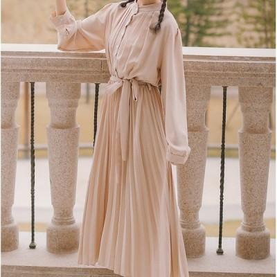 ワンピース ドレス プリーツスカート ロング丈 Aライン ボタン ウエスト絞り リボン オシャレ 大人女子 キュート カジュアル