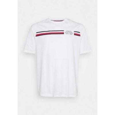 トミー ヒルフィガー Tシャツ メンズ トップス SPLIT TEE - Print T-shirt - white