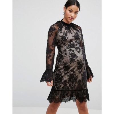 エイソス ASOS Maternity レディース ワンピース ワンピース・ドレス High Neck Open Back Lace Mini Dress Black