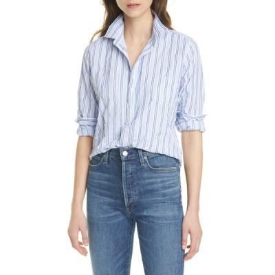 フランク & アイリーン レディース シャツ トップス Crinkle Stripe Print Long Sleeve Shirt MULTI BLUE
