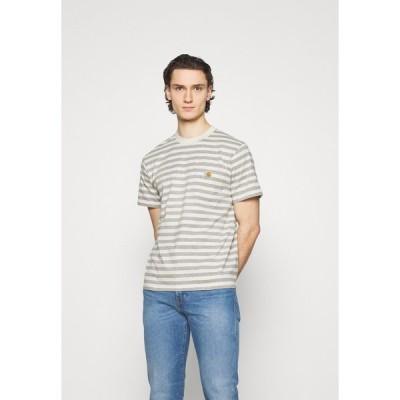 カーハート Tシャツ メンズ トップス SCOTTY POCKET - Print T-shirt - white heather/grey heather