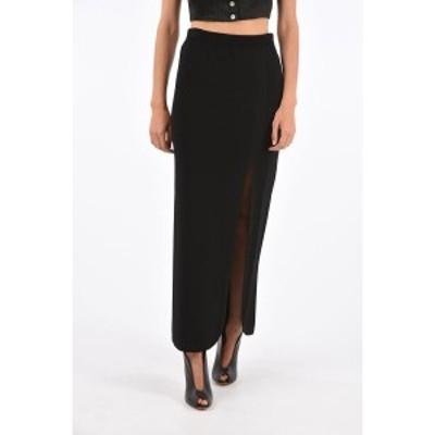 NEIL BARRETT/ニールバレット Black レディース Knit Long Skirt with Split on Front dk