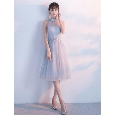 ミニドレス 花嫁ドレス パーティードレス ウェディングドレス カラードレス ショートドレス ワンピース フォーマル お呼ばれドレス 結婚式[グレー]