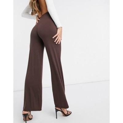 フロンスロンドン レディース カジュアルパンツ ボトムス Flounce London basic high waisted wide leg pants in chocolate brown Chocolate brown