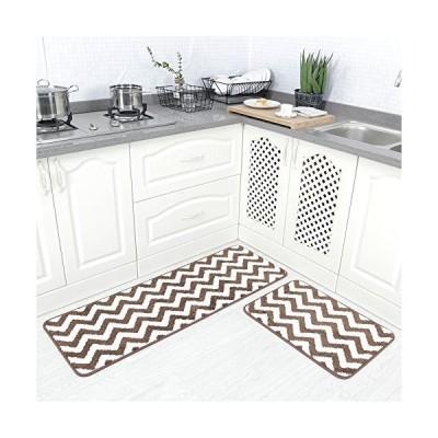 "Carvapet 2 Pieces Microfiber Chevron Non-Slip Soft Kitchen Mat Bath Rug Doormat Runner Carpet Set, 17""x48""+17""x24"", Coffee並行輸入品"