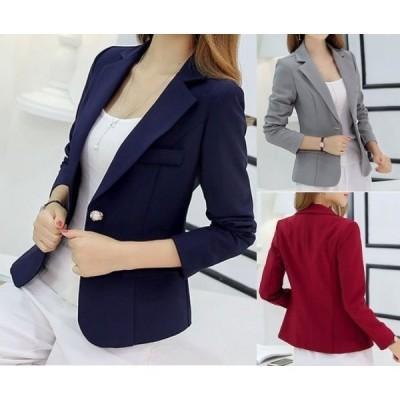 アウターテーラードジャケットVネックオープンカラー長袖飾りボタン胸ポケットタイト