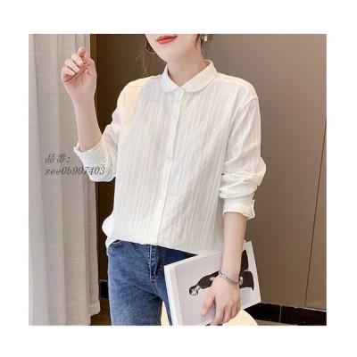 シャツ レディース トップス 長袖 ゆったり ストライプ 綿100% 長め 白シャツ きれいめ シャツブラウス