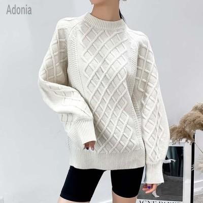 レディース 白い プルオーバーセーター 無地 長袖 セーター 秋冬物 着やせ 上質感 簡単に シンプル 伸縮性 ホワイト ニット ゆったり トップス