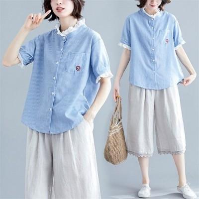 シャツ ブラウス レディース シャツ トップス ロングシャツ 半袖 薄手 可愛い UVカット カーディガン 体型カバー 無地 着痩せ