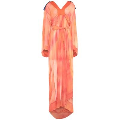 .AMEN. ロングワンピース&ドレス オレンジ 46 シルク 100% ロングワンピース&ドレス