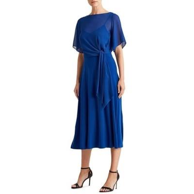 ラルフローレン レディース ワンピース トップス Georgette Overlay Jersey Tie Waist Elbow Sleeve Midi Dress Summer Sapphire