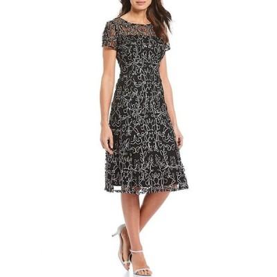 イグナイト レディース ワンピース トップス Embroidered Soutache Lace Illusion Midi Dress