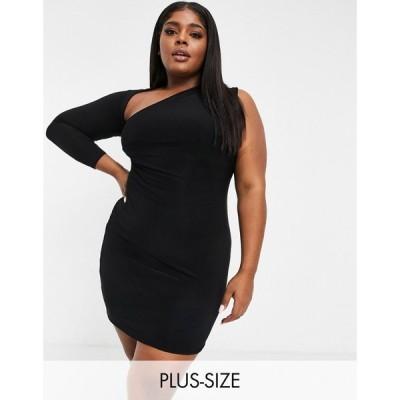 クラブエル ロンドン Club L London Plus レディース ワンピース ワンピース・ドレス Slash Neck One Shoulder Mini Dress In Black ブラック