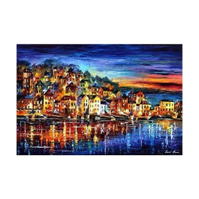 Blue Wall Art Seascape Paintings On Canvas By Leonid Afremov Studio - Quiet Town