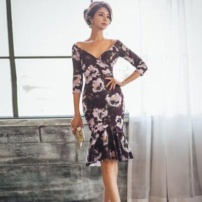 ドレス オフショルダー エレガント セクシー マーメイドドレス