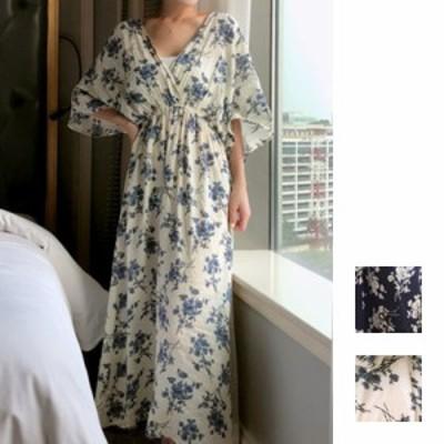 韓国 ファッション レディース ワンピース 春 夏 新作 カジュアル naloI052  Vバック カシュクール シアー ゆったり ラフ シンプル コー
