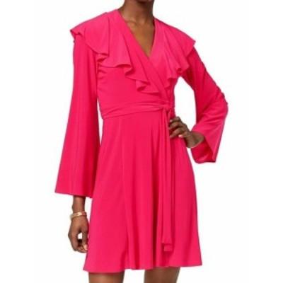 taylor テイラー ファッション ドレス Taylor NEW Pink Womens Size 8 Ruffle Tie-Waist Jersey Knit Wrap Dress