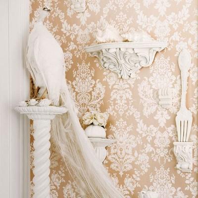 はってはがせる 輸入壁紙 イギリス Cole&Son / Giselle 52cm×10m ダマスク 花 フラワー ピンク ピンクゴールド パール 108/5024
