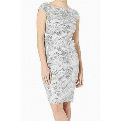 Marina マリーナ ファッション ドレス Marina NEW Silver Womens Size 6 Sequined Mesh Knit Sheath Dress