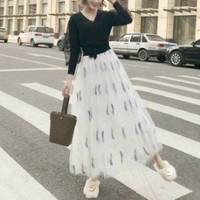 スカート ロング丈 刺繍 チュールスカート 大人かわいい
