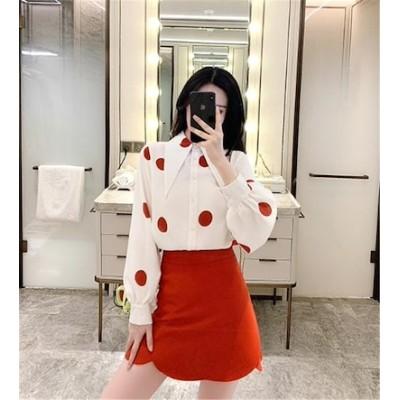 独特の存在感韓国ファッション 2020 秋 新品 ファッション ゆったりする 百掛け 長袖 ドット オシャレ sweet系 ラペル シフォンシャツ