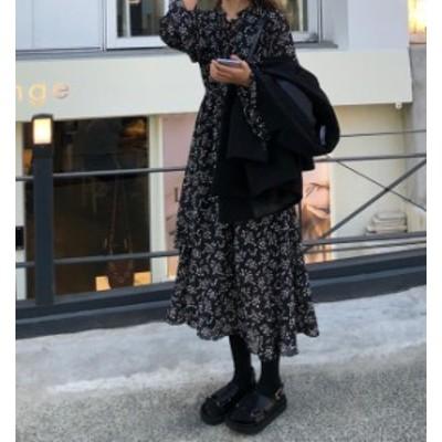 韓国 ファッション レディース ワンピース ロング 花柄 シフォン フレア リボン 長袖 ゆったり 大人可愛い レトロ 春 新作