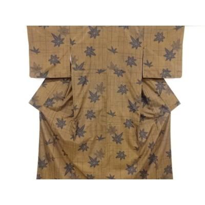 宗sou 楓模様織り出し十日町紬着物【リサイクル】【着】
