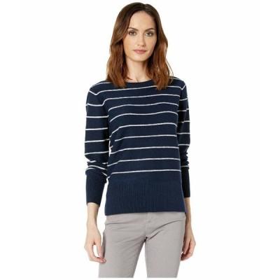 エヌワイディージェイ ニット&セーター アウター レディース Long Sleeve Crew Neck Sweater Peacoat/Vanilla Stripe
