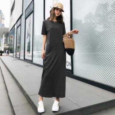 ロングtシャツワンピース 韓国 ファッション レディース 夏服 ワンピース ロング マキシワンピース 半袖 夏物 チャコールグレー ロング