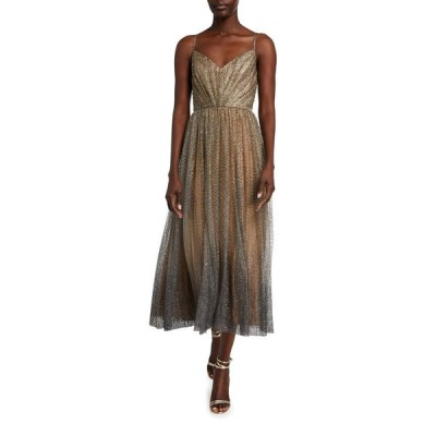 モニークルイリエ レディース ワンピース トップス Glittered Tulle Tea-Length Cocktail Dress