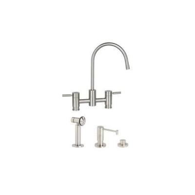 Waterstone 7800-3-PN Parche Bridge Faucet 3pc. Suite Polished Nickel