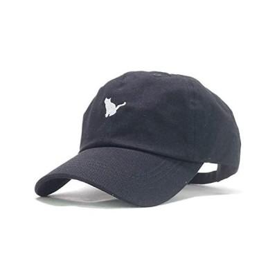 [Smart Hat Factry] ネコ刺繍 キャップ 猫 メンズ レディース ユニセックス サイズ調節 シンプル(ブラック 58.0 cm)