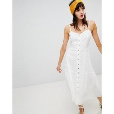 マンゴ レディース ワンピース トップス Mango knot back broderie sundress in white White