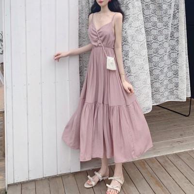 全商品で送料無料 夏の韓国のファッション女性の緩い野生の気質レトロ無地スリングドレス