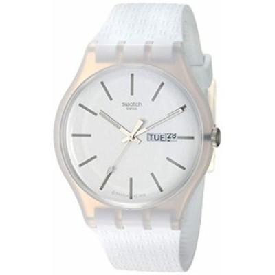 腕時計 スウォッチ メンズ Swatch 1907 BAU Quartz Silicone Strap, White, 20 Casual Watch (Model: SUOW