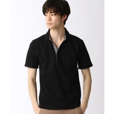 【ニコルクラブフォーメン】 スキッパ-ポロシャツ メンズ 49ブラック 46(M) NICOLE CLUB FOR MEN