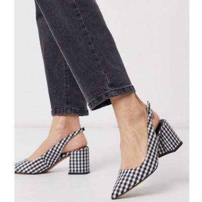 エイソス ASOS DESIGN レディース ヒール シューズ・靴 Sammy slingback mid heels in black and white gingham