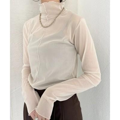 tシャツ Tシャツ 春夏シースルーシアータートルネックメロートップス