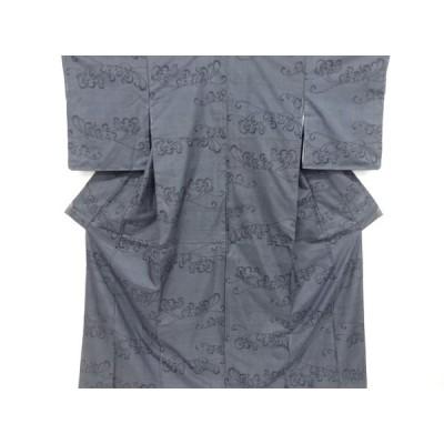 リサイクル 未使用品 抽象花模様織り出し本場泥大島紬着物アンサンブル(5マルキ)