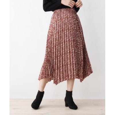 grove(グローブ) 小花柄イレギュラーヘムプリーツスカート