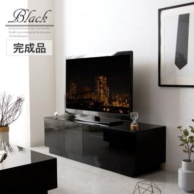 テレビボード 150 完成品 テレビ台 150幅 ガラス ブラック 黒