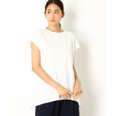 Gabardine K.T/ギャバジンK.T 〔+サイズ〕すっきり フレンチスリーブ Tシャツ ホワイト 17号
