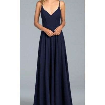 Hayley Paige ヘイリーペイジ ファッション ドレス Hayley Paige NEW Blue Womens Size 10 V-Neck Seamed Sheath Dress