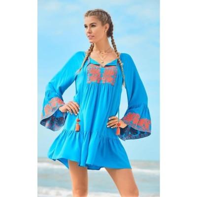ワンピース リリーピュリッツァー  Lilly Pulitzer AMISA TUNIC DRESS Sparkling Blue Embroidered Orange XS M