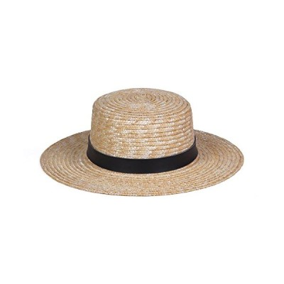 Lack of Color Women's Spencer Leather Banded Straw Boater Sun Hat (Charcoal/Natural, Medium (57cm))【並行輸入品】