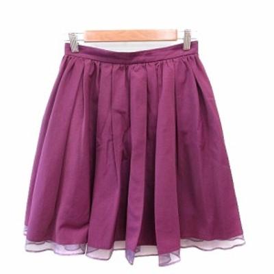 【中古】ジルスチュアート JILL STUART フレアスカート ひざ丈 切替 2 紫 パープル /AU レディース