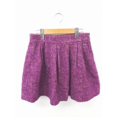 【中古】パンソー Pinceau スカート フレア ミニ 総柄 ウール混 モヘヤ混 シルク混 36 紫 パープル /TT15