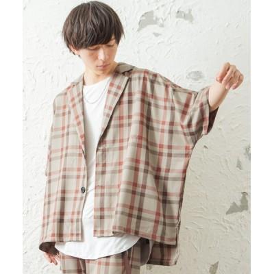 MinoriTY / メンズレトロチェック5分袖テーラードジャケット 【セットアップ対象商品あり】 MEN ジャケット/アウター > テーラードジャケット