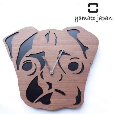 掛け時計 木製 ヤマト工芸 yamato real animal clock パグ ( 壁掛け 壁掛け時計 時計 )