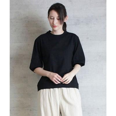 アットワン atONE ボリューム袖ショート丈カットソー (BLACK)